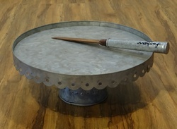 Galvanised Cake Stand With Knife