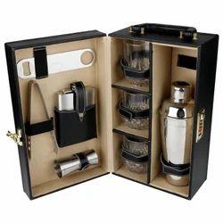 Black - 03 - Portable Leatherette Cocktail Bar Set
