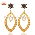 Pearl Gold Plated Silver CZ Earrings