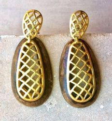 Wood Silver Earring
