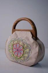 Round Wooden Handle Jute Hand Bags