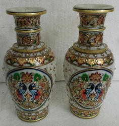 Marble vases with gold work