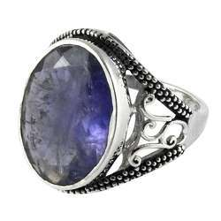 Large Stunning Iolite 925 Sterling Silver Ring