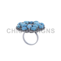 Diamond Turquoise Cocktail Ring