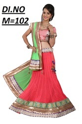 Peach Georgette Embroidered Lehenga Choli