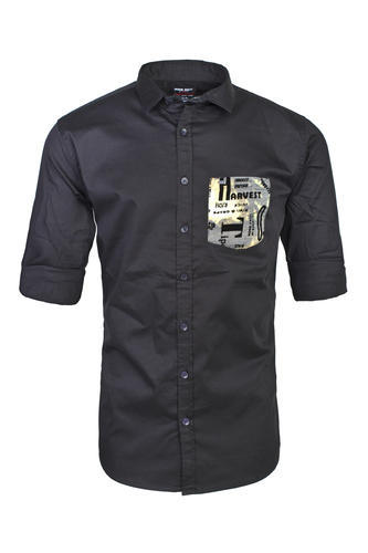 Stitched Cotton Black Shirt