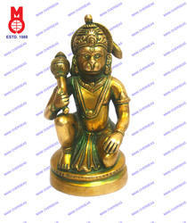 Hanuman Sitting  On Rd. Base Statue
