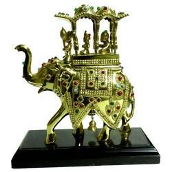 Brass Sawari Elephant With Stone Work