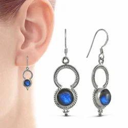 Big Inspire 925 Sterling Silver Blue Labradorite Earrings
