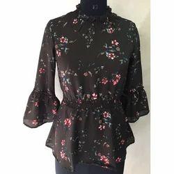 Ladies Black Floral Printed Top