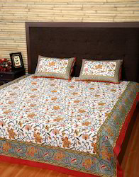 Luxurious White Gray Floral Double Printed Bed Sheet Set