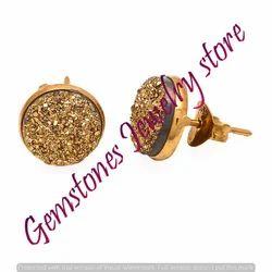 Golden Druzy Gemstone Ear Stud