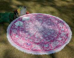 White And Pink Cotton Floral Printed Lace Work Picnic Mat