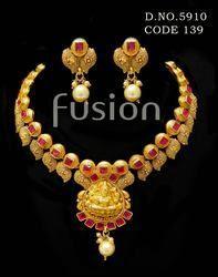 Traditional Matt Polish Indian Wedding Necklace Set