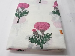 Traditional Hand Block Printed Fabric New Flower Printed