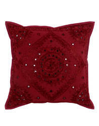 Mirror Work Embroidered Maroon Cotton Pillows Cushion Cover