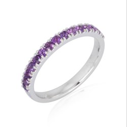 10K Gold Gemstone Eternity Band Ring
