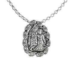 Radha Krishna 925 Silver Handmade Pendant