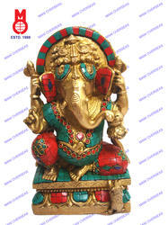 Lord Ganesh Sitting On Sq.Base W/ Stone Statue