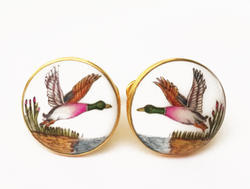 Silver Cufflinks - Hand Painted - Birds