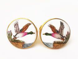 Silver Cufflinks - Hand Painted - Birds