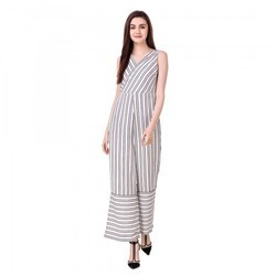 Stripe Wide Leg Women Jumpsuit Dress