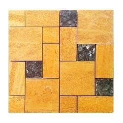 Eta Gold Polished Sandstone wall Cladding Mosaic tile