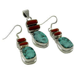 Natural Rich Coral Turquoise 925 Sterling Silver Pendant Set