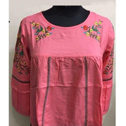 Ladies Printed Pink Top