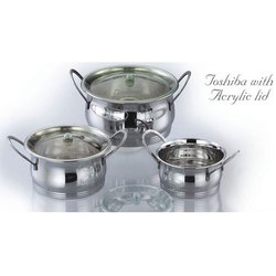 Toshiba Stainless Steel Utensils with Acrylic Lid Set