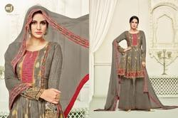 Dark Olive Georgette Printed Women's Sharara  Suit