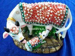 Marble Gold Painted Kamdhenu Cow