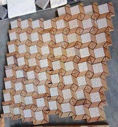 Teak Wood Sand Stone Wall Mosaic Tiles