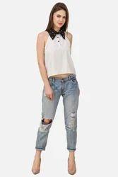 Women Black & White Pearl Top