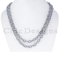 Diamond Silver Link Chain Necklace