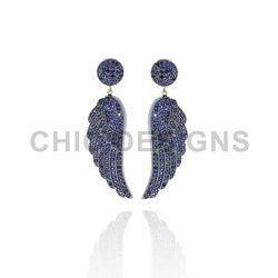 Sapphire Angle Wings Earrings