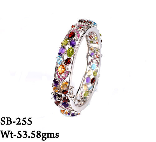 Multi Color Stone 925 Sterling Silver Openable Bangle