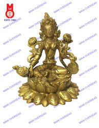 Green Tara Sitting On Lotus Base Statue
