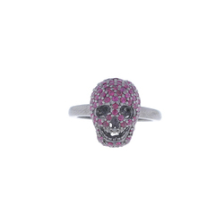 Ruby Gemstone Skull Charm Ring