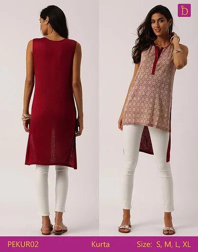 c558557438e Tunic Tops Tunics for Women Knee Length Kurta with Khadi Print and Curved  Hemline Kurta Tunic