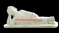 White Marble Sleeping Buddha Statue Sculpture