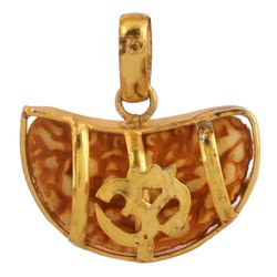 Kaju Rudraksha Om Pendant Handmade Pendant Brass Metal with Synthetic