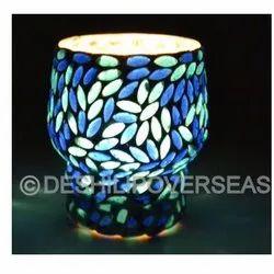 Blue Mosaic Glass Candle Votive