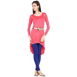 Ira Soleil Pink Viscose Knitted Stretchable High Low Tunic