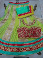 Green Georgette Embroidered Lehenga Choli