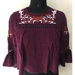 Ladies Embroidery Mehroon Top