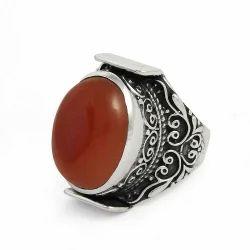 Classy Style 925 Sterling Silver Carnelian Ring