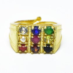 Gold Plated Synthetic Navratna Adjustable Ring