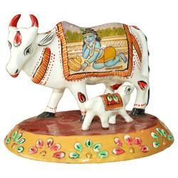 Metal Child Paoti Cow With Krishna Painting Work