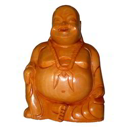 Natural Wooden Laughing Buddha Statue